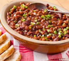 Easy Peasy Baked Bean Trio: This no-fuss baked bean recipe can be served alongside barbecued items, such as sausages, ribs and chicken.