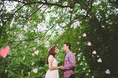 Days of Summer Wedding Inspiration. I kinda love these strings of paper hearts.