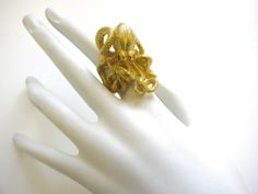 Kurt Wayne A Massive Gold Octopus RIng | From a unique collection of vintage cocktail rings at http://www.1stdibs.com/jewelry/rings/cocktail-rings/