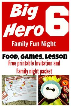 Big Hero 6 family fun night with free printable invitation and plan. This is such a fun family night that includes ideas for food, activities and life lessons relates to the movie.