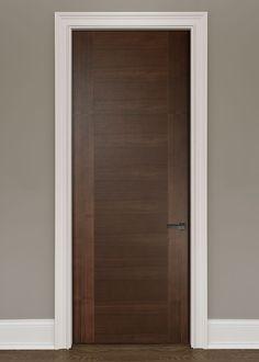 Modern Walnut Solid Wood Front Entry Door - Single - GDIM-VG9000