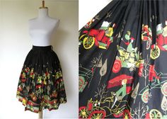 Vintage 1950s Novelty Skirt // 1920s Pattern // Full by FabVintage, $119.00