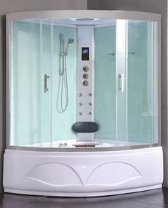 This is a quadrant shaped model and measures 1350mm x 1350mm. It is a whirlpool bath and steam shower combined and like all these types of units, comes packed with numerous features.
