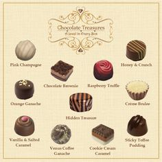 The Original Chocolate Treasures Collection Chocolate Truffles, Chocolate Brownies, Honey Crunch, Coffee Cookies, Sticky Toffee, Belgian Chocolate, Creme Brulee, Pink Champagne, Cookies And Cream