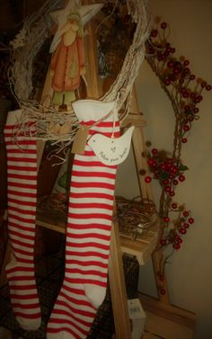 I love Christmas decorating with socks Christmas Decorations, Holiday Decor, Christmas Stuff, Christmas Stockings, Socks, Wreaths, Gift Ideas, Decorating, Gifts
