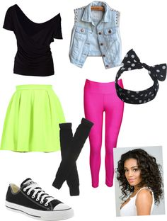 """Had to dress up 80s today at school"" by carla-zambrano ❤ liked on Polyvore"
