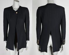 Vintage 90s Blazer / 1990s Minimalist Designer Sonia Rykiel Black Crepe Long Suit Jacket S M by FloriaVintage on Etsy