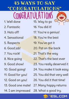 Congratulations Synonym: 45 Ways to Say Congratulations - 7 E S L Congratulations Synonym! List of many different ways to say Congratulations in English with ESL pictures. Learn these synonyms for congratulations to increase y English Writing Skills, Learn English Grammar, English Vocabulary Words, Learn English Words, English Phrases, English Idioms, English Language Learning, Teaching English, Learn English Speaking