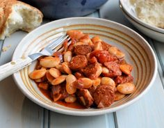 Lavender and Lovage | Smoky Chorizo and Butter Bean Hot Pot | https://www.lavenderandlovage.com