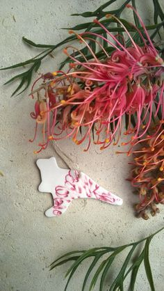 Australian Kangaroo with Pink Grevillea flower pattern Porcelain Christmas Tree Decoration or Gift Tag by RomandaNewmanCeramic on Etsy