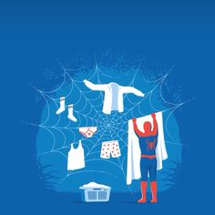 This is spiderman hanging his clothes to dry on a web he created. It's funny because he is a superhero and he is doing normal stuff. I find that interesting.