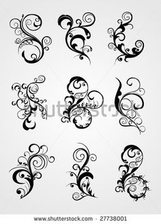 set of scroll, curve pattern tattoo