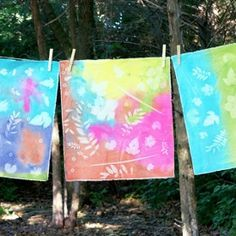 Create beautiful sun prints on fabric using Metallic Acrylic Paint from Oriental Trading.  Makes a fun camp craft for kids!