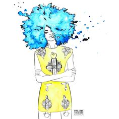 Blauer Afro und gelbes Versace-Kleid blue afro in yellow versace dress Hair Illustration, Versace Dress, Awesome Hair, Bart Simpson, Afro, Cool Hairstyles, Pandora, Illustrations, Lettering