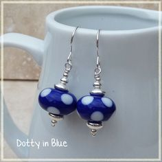 Dotty in Blue White and Blue Polka Dot Lampwork by AjennobyJo