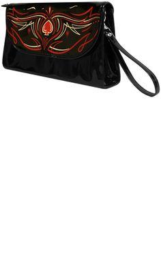 black clutch, pinstriped, purse  www.deadrockers.net