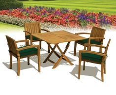 awesome Hampton Teak Square Folding Garden Table Chair Set (Green Cushions) - Jati Brand, Quality & Value Buy this and much more home & living products at http://www.woonio.co.uk/p/hampton-teak-square-folding-garden-table-chair-set-green-cushions-jati-brand-quality-value/
