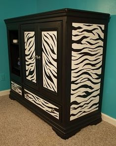 DIY Zebra Furniture. Gotta figure out how to do this to my current dresser
