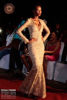 Vida Collection 2014 - Victoria Evening Gown by Totally Ethnik, in Gold Lace