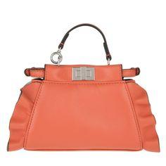 awesome Fendi Fendi Tasche - Micro Peekaboo Crossbody Nappa Shiny Waves Bicolor Salmon - in orange - Umhängetasche für Damen