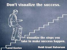 "Success Quotes https://levelquotes.blogspot.com.br/2018/01/success-quotes.html ""Don't visualize the success. Visualize the steps you take to make success happen.""  - Heidi Grant Halvorson #quotes #message #peace #success #inspirationalquotes"
