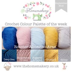 This weeks September Blue inspired Crochet Colour Palette uses shades of Royal Blue, Mustard, Pink and Grey from Rooster Almerino Aran inspired by the September Blue Fabrics from Dashwood Studios.