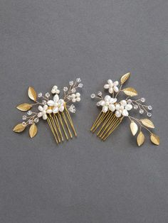Gold Leaf Bridal Hair Comb | Freshwater Pearl and Crystal Wedding Hair Accessories | Golden Leaf Bridal Hair Pins [Phoebe Comb Set: Gold]