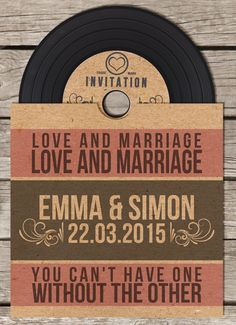40 x Vinyl CD Wedding Invitation by BeOurGuestDesigns on Etsy, £120.00