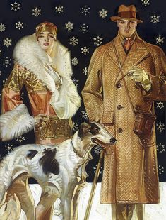 Leyendecker : A Stroll In The Snow 1925 vintage illustration Art Deco couple Art Deco Illustration, Illustrations Vintage, Fashion Illustrations, Art Deco Posters, Vintage Posters, Vintage Art, Art Quotidien, Moda Art Deco, Halloween Vintage