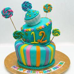 A topsy turvy cake for a 12 birthday. Dark chocolate and red velvet. 12th Birthday, Birthday Cake, Candy Cakes, Red Velvet, Chocolate, Party, Desserts, Food, Sweet Cakes