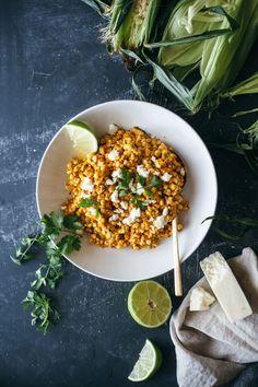corn, two ways: maple bacon polenta + mexican corn salad