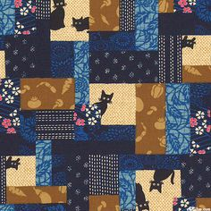 Japanese Import - Peek-a-Boo Kitty -Quilt Fabrics from www.eQuilter.com