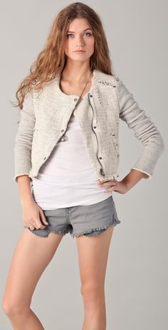 White tweed with denim shorts