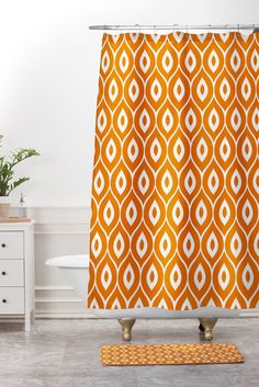 Aimee St Hill Leela Orange Shower Curtain And Mat | Deny Designs Home  Accessories