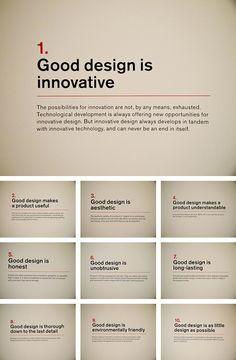 10 Principles of Design by Dieter Rams 10 Gestaltungsprinzipien von Dieter Rams Layout Design, Graphisches Design, Design Basics, Graphic Design Tutorials, Graphic Design Inspiration, Graphic Studio, Design Thinking Process, Design Process, Graphic Design Quotes