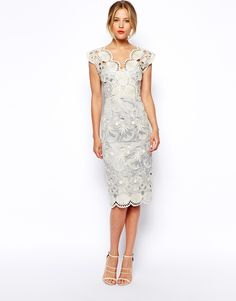 Image 1 of ASOS Premium Pencil Dress With Seashell Scallop Lace