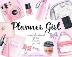 Watercolor Clipart, Decoupage, Mode Rose, Scrapbooking Digital, Fashion Clipart, Blog Planner, Planner Ideas, Pink Planner, Girl Clipart
