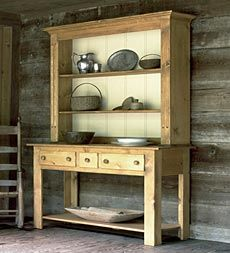 Welsh Open Hutch with beadboard back and lower shelf for extra storage and display. Handcrafted in the USA.