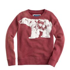 J.Crew boys' glow-in-the-dark polar bear sweatshirt in weathered red.