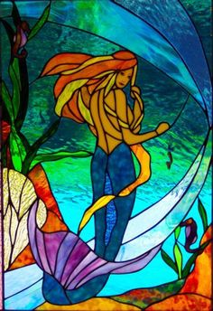 Pin Mermaid In Stained Glass Patterns