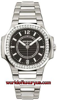 7008-1A-010 - This Patek Philippe Nautilus Womens Watch, 7008-1A-010 features 33.60 mm Stainless Steel case, Black mother-of-pearl dial, Sapphire crystal, Fixed bezel, and a Stainless Steel Bracelet. Patek Philippe Nautilus Womens Watch, 7008-1A-010 also features Automatic Movement, Analog display, Date at 6 o'clock. This watch is water resistant up to 60m / 200ft. - See more at: http://www.worldofluxuryus.com/watches/Patek-Philippe/Nautilus/7008-1A-010/46_58_8056.php#sthash.OWDBzEcR.dpuf