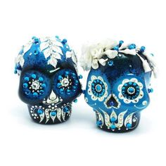 Gothic Skull Wedding Cake Topper Teal Blue Color Day of the Dead Wedding Decoration Handmade Collectible Crafts 00029  www.goodiemud.com