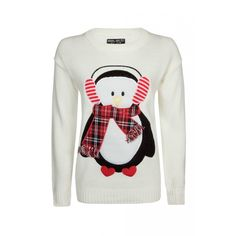 Penguin Christmas Jumper (56 BRL) ❤ liked on Polyvore featuring tops, sweaters, shirts, white sweaters, white jumper, white christmas sweater, xmas sweaters and shirt top