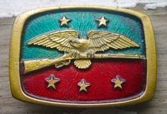 Vintage Eagle Gun Stars Enamel Belt Buckle NC47 2nd Amendment Right to Bear Arms #Unbranded