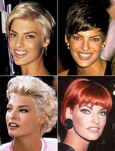 Linda Evangelista hair colors in the 90s.