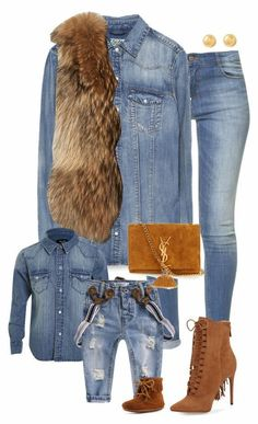 Denim & faux fur plus brown leather accessories