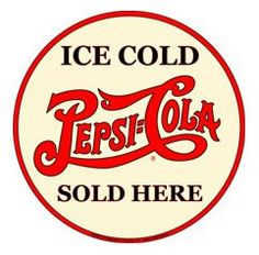 Ice Cold Pepsi Cola Round Metal Sign