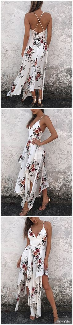 Sexy Random Floral Print Irregular Hem Backless Dress. For more great pins go to @KaseyBelleFox