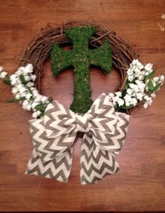 Easter Wreath - Spring/ Summer Grapevine Wreath- Moss Cross - Chevron - Burlap Bow-White Flowers
