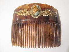 Antique 18K Gold Wing Design Rhinestone Faux Tortoise Shell F. P. CO Hair Comb
